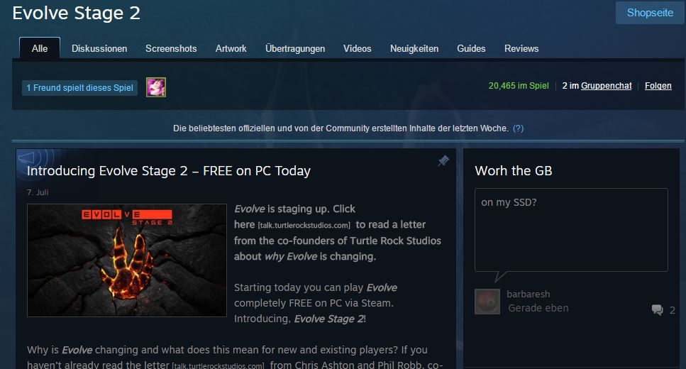Evolve Stage 2 - über 20000 Spieler