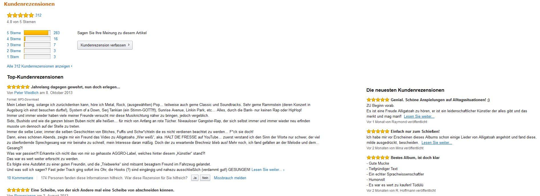 Amazon - Kunden Bewertungen