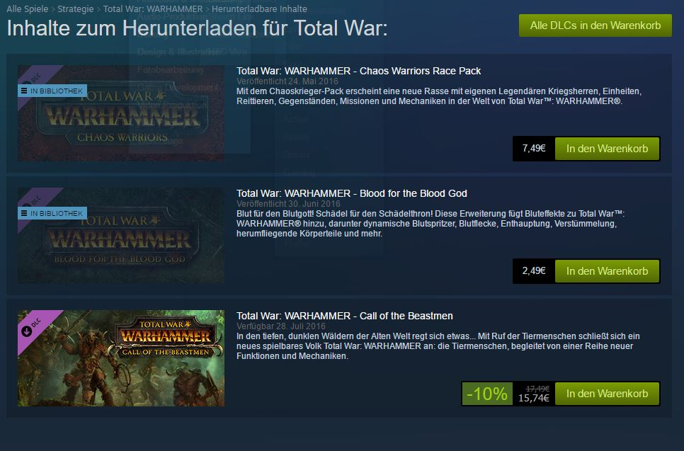 Total War - Warhammer - Dreiste DLCs