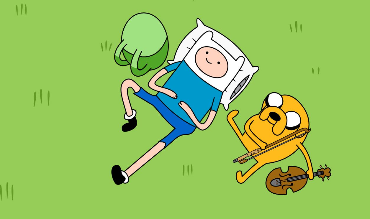 Adventure Time - Jake and Finn - Liegen im Gras