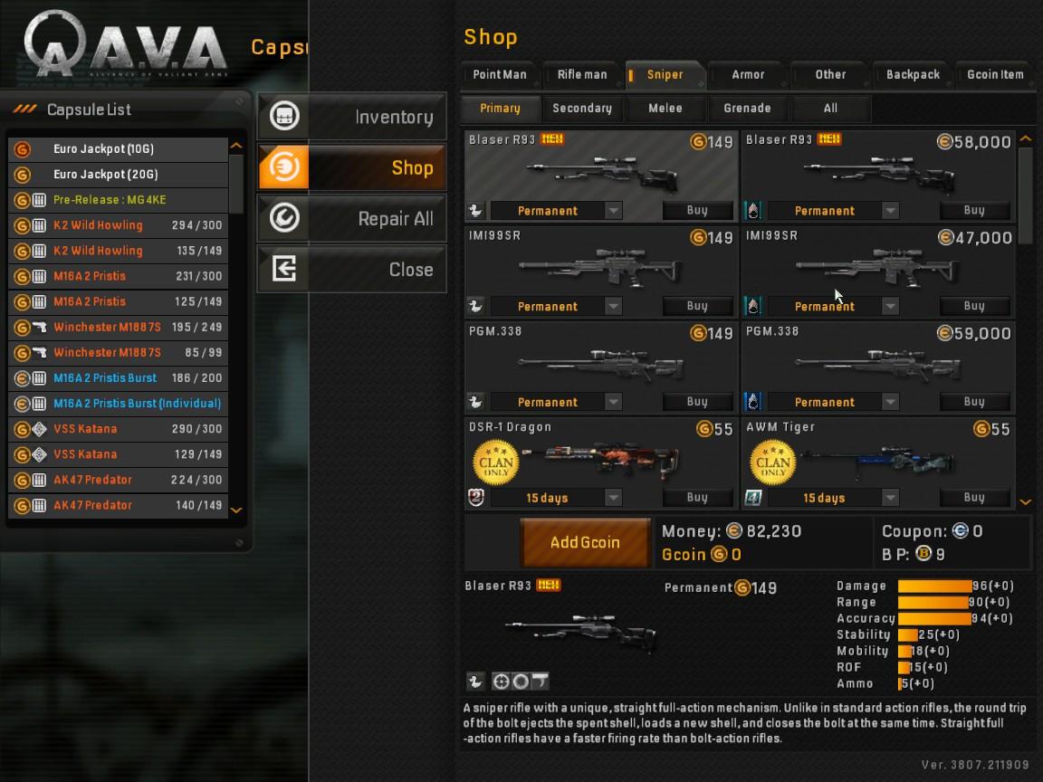 AVA Waffen Sniper