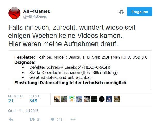 AltF4Games - Festplattenschaden