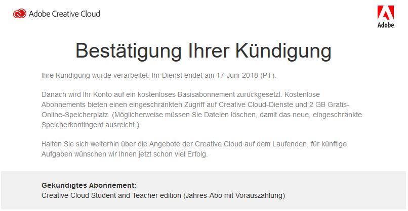 Adobe Creative Cloud - Bestätigung der Kündigung