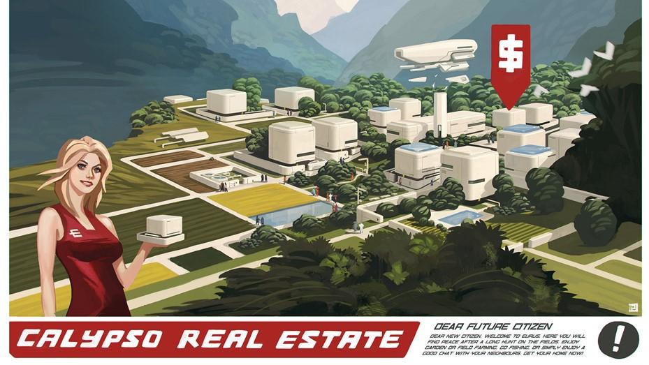 Ein Werbeschild für das MMO Entropia Universe. Eine Frau hält ein kleines Gebäude in der Hand und präsentiert es. Im Hintergrund sind zahlreiche neue Häuser und unbebaute Grundstücke in einem bewaldeten Tal zu sehen. Im unteren Teil wird mit Text für den Kauf von Grundstücken geworben.