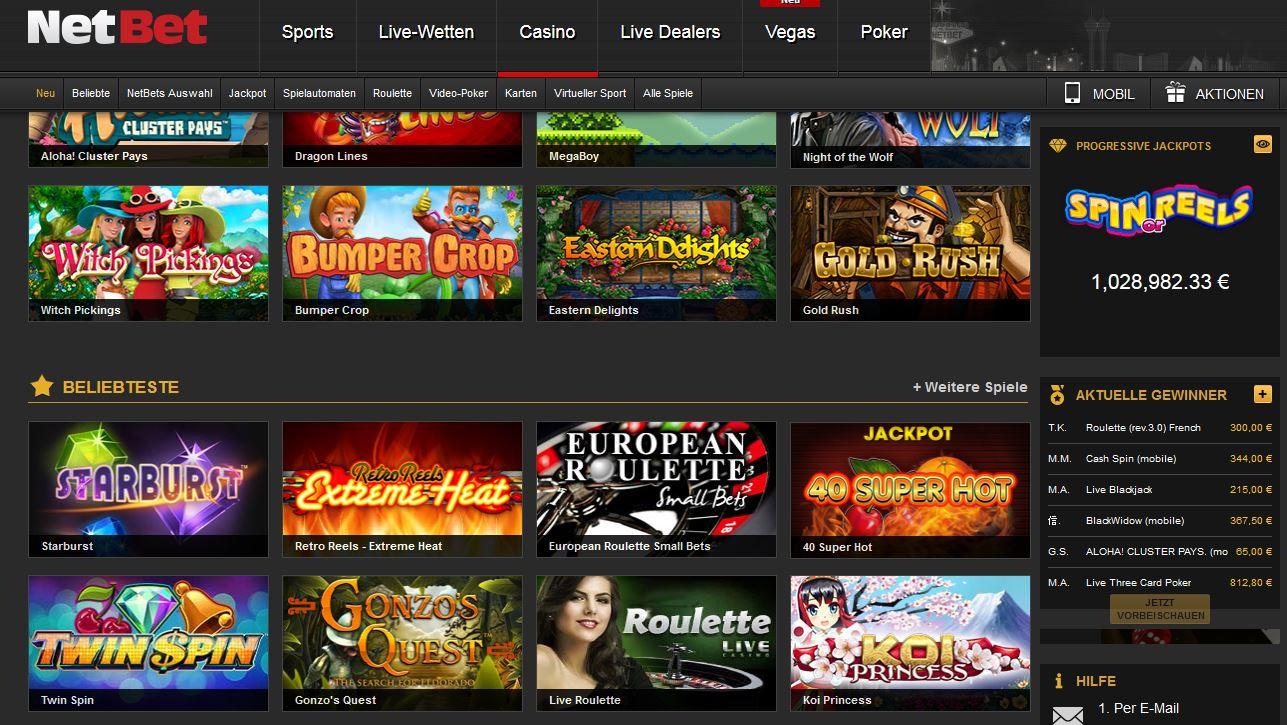 NetBet - Casino Seite