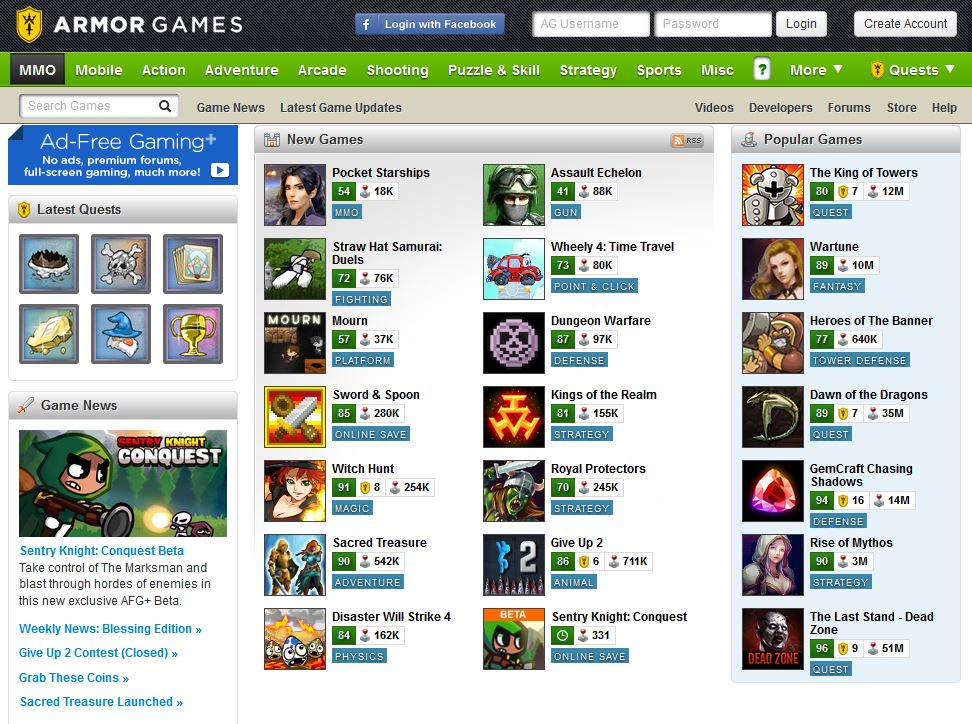Armor Games - Minigames heute.JPG