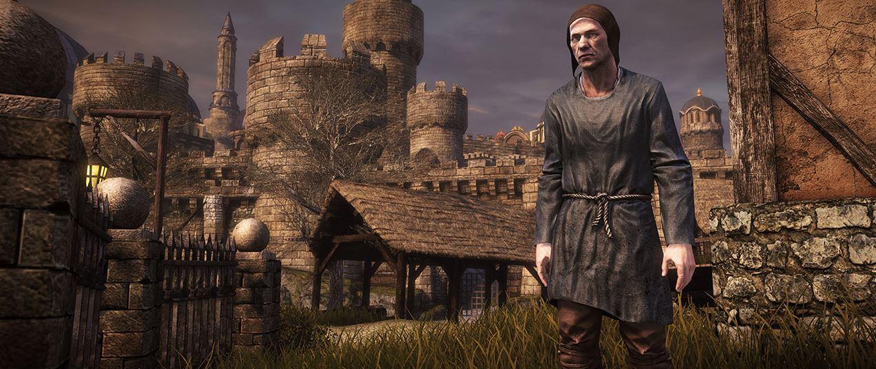 Chivalry Medieval Warfare Ein Bauer vor der Burg