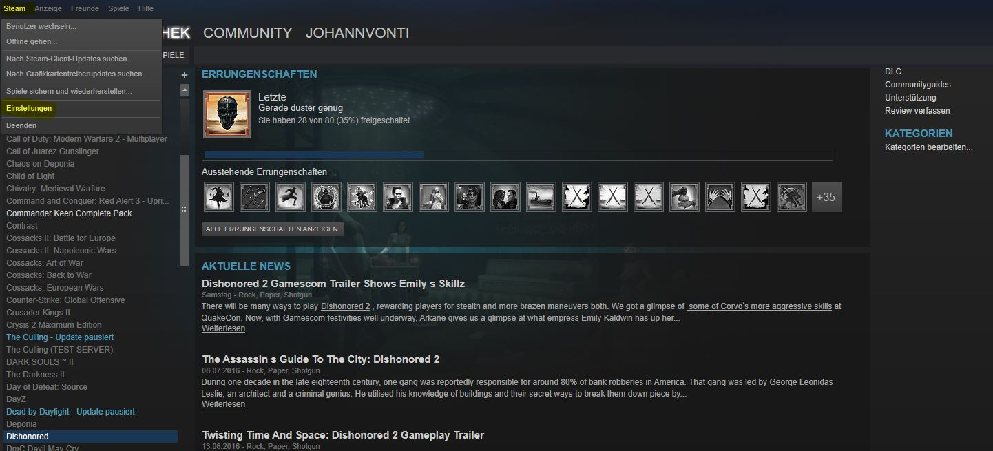 Dishonored - Win 10 fix