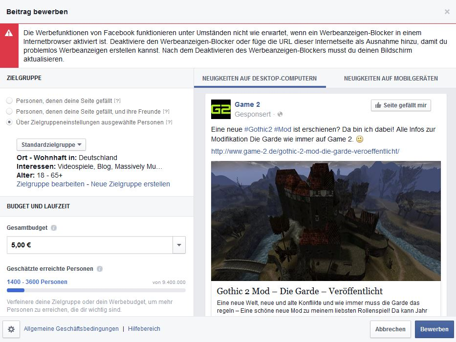 Facebook die eigenen Beiträge bewerben damit Nutzer sie sehen können