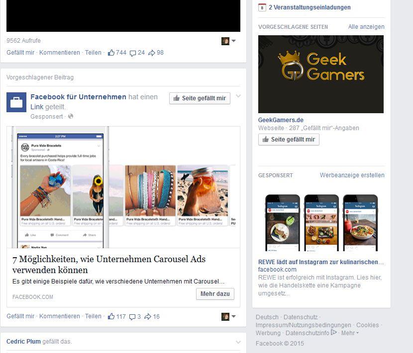 Facebook voller Werbung
