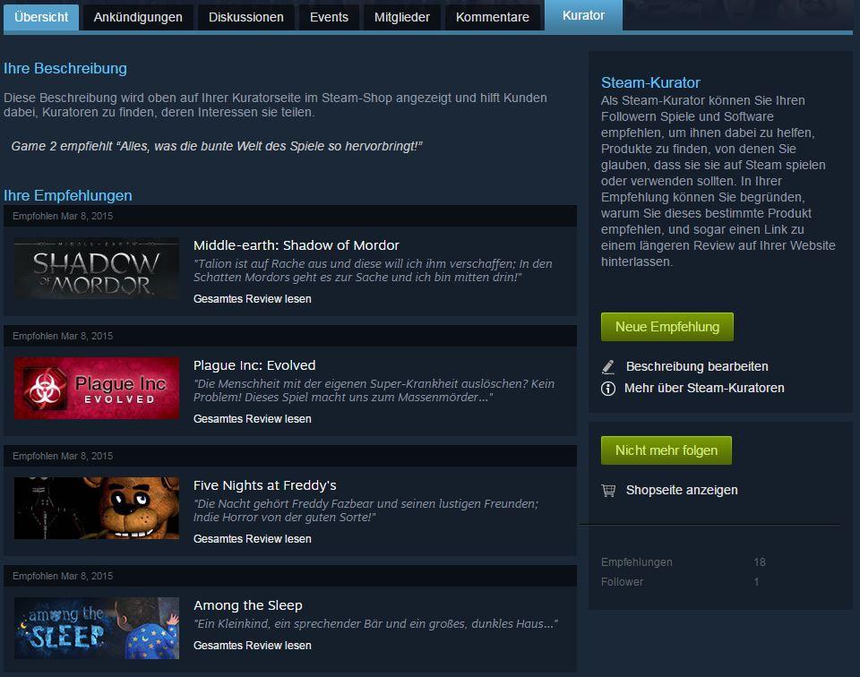 Game 2 - Steam Kurator