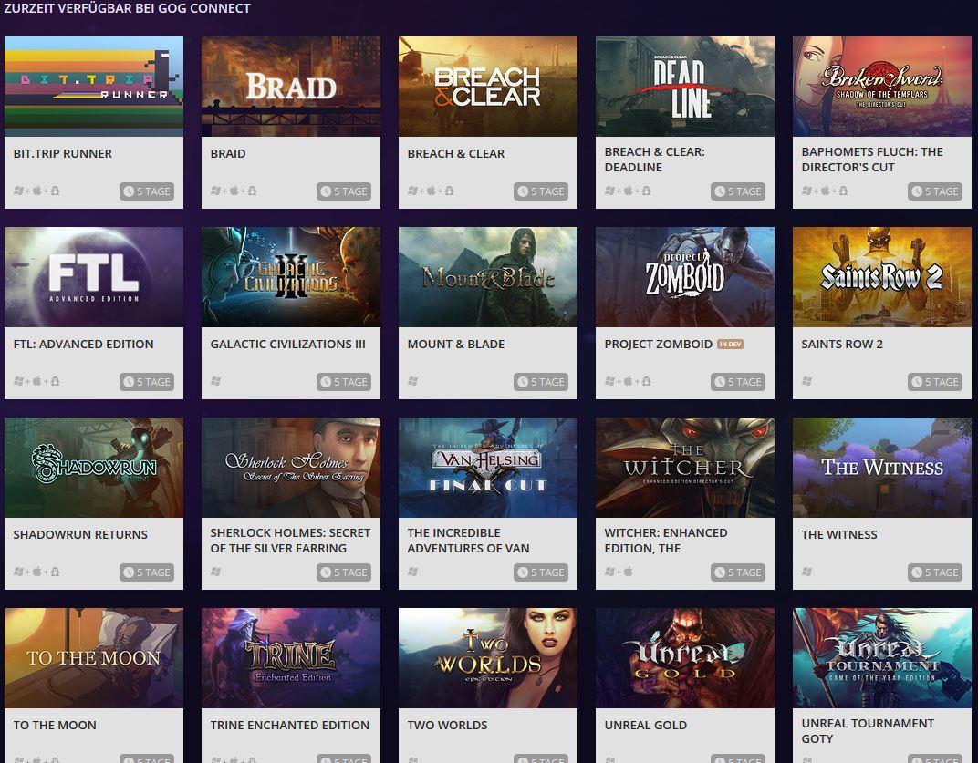 GOG Connect - Verfügbare Games