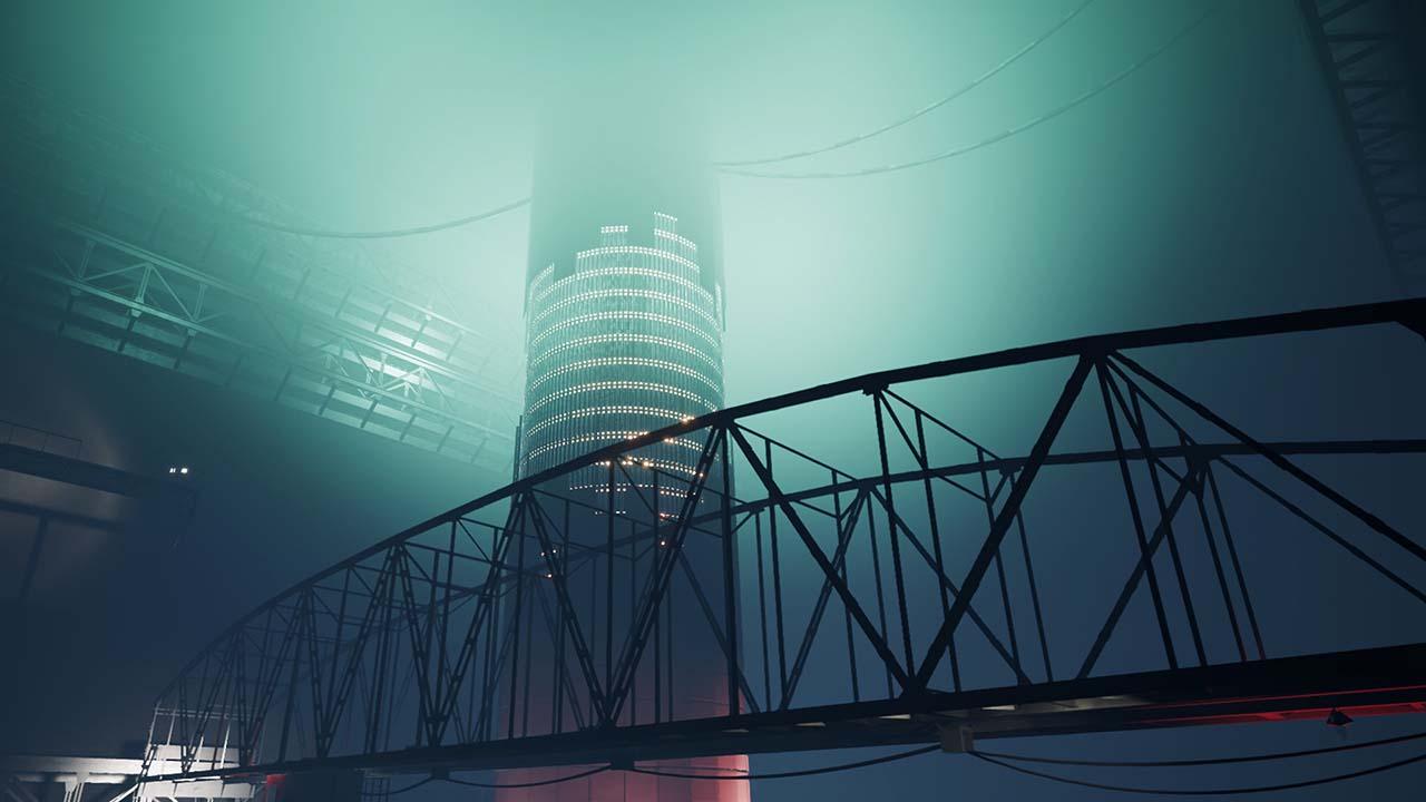 Screenshot von dem Mystery-Shooter INDUSTRIA – zu sehen ist eine gigantische, in schwaches, blaues Licht getauchte Halle. Im Vordergrund befindet sich eine große Metallbrücke, während im Hintergrund ein großer Turm mit vielen, kleinen Lichtern steht.