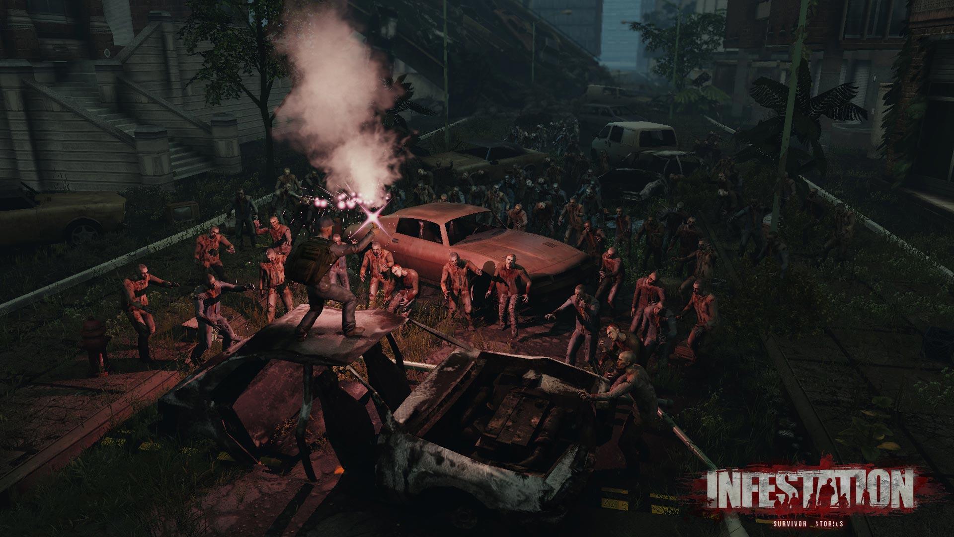 Überlebender auf Auto