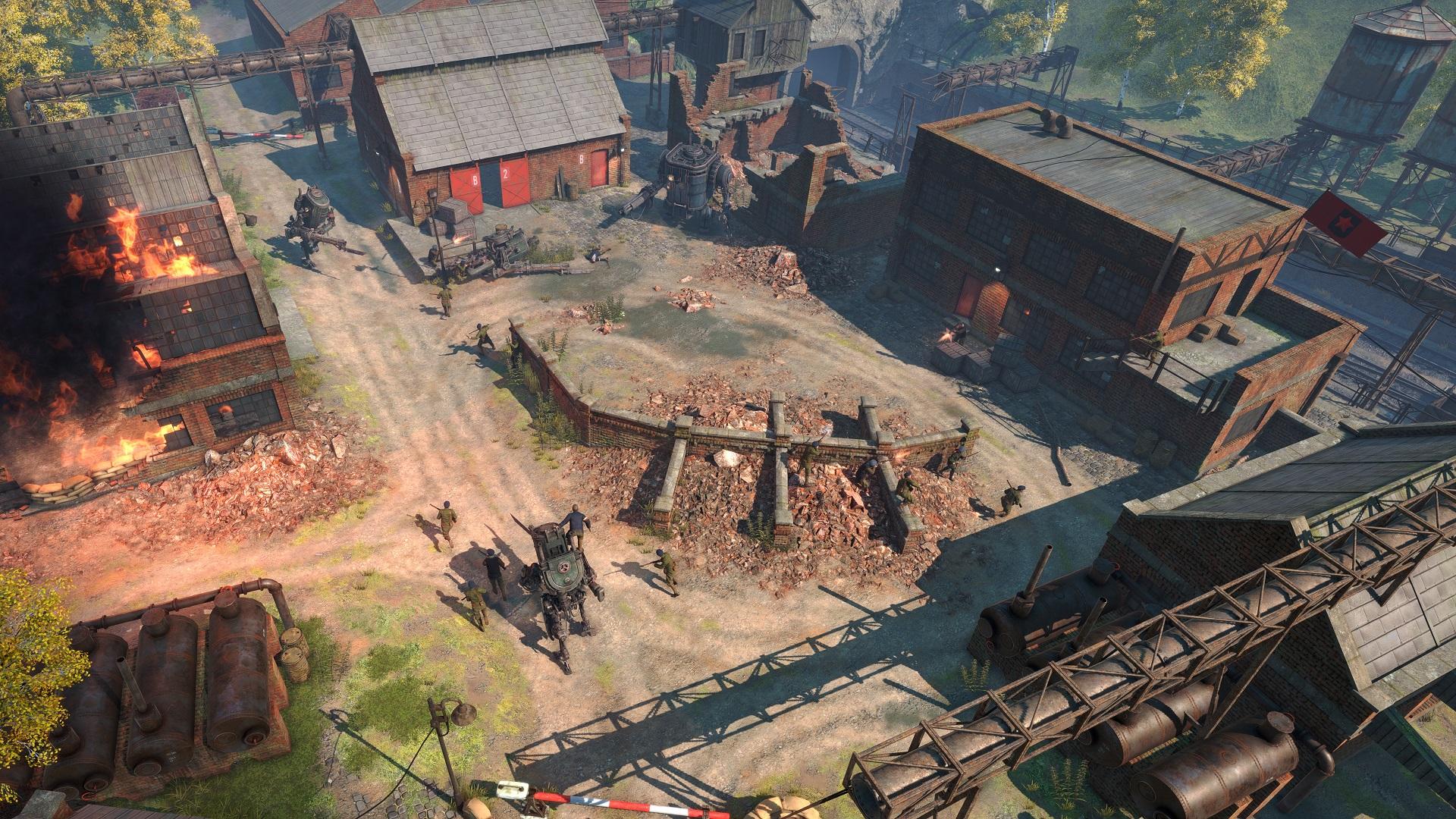 Iron Harvest - Gefecht zwischen Lagerhallen