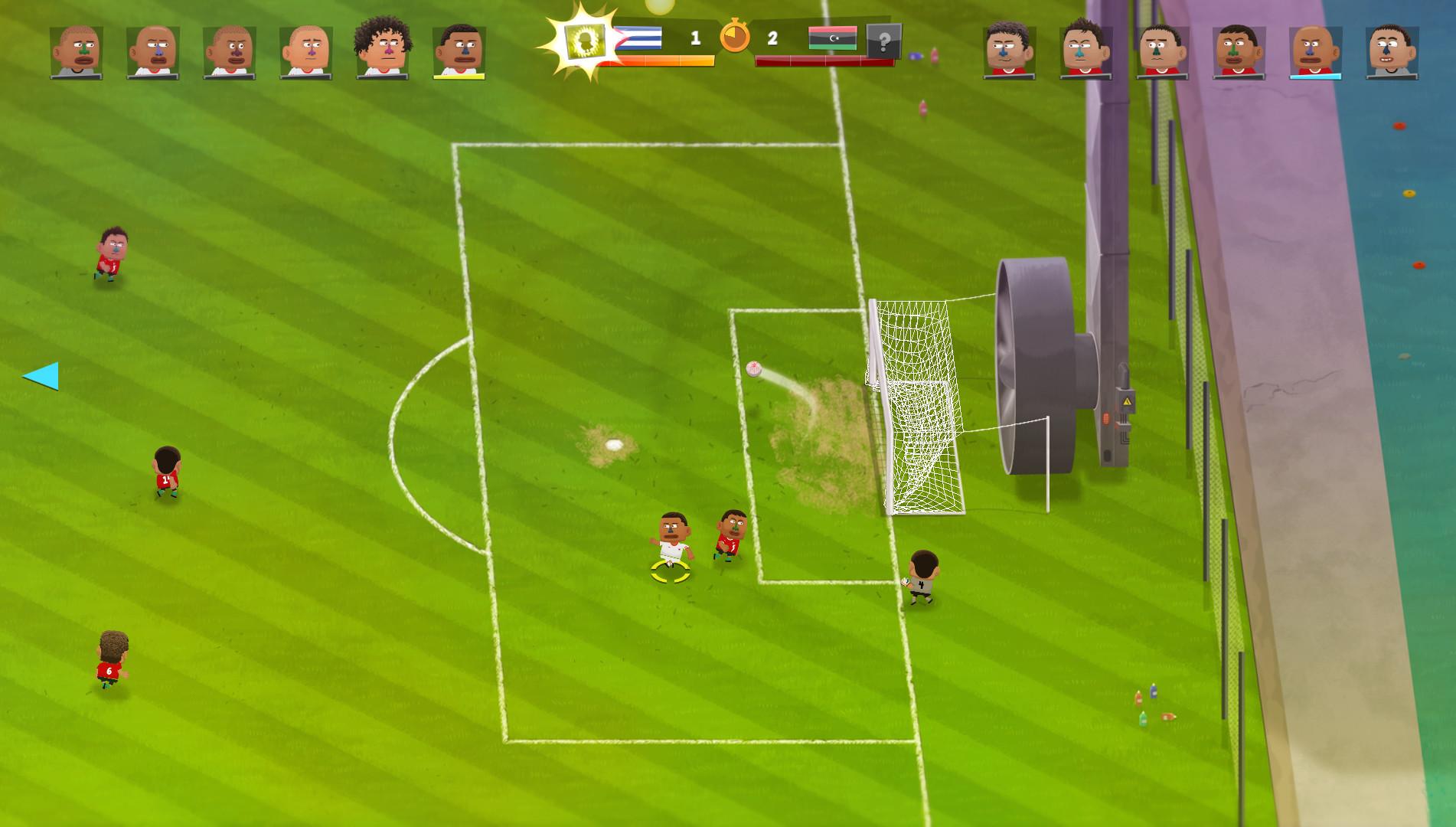 Kopanito All-Stars Soccer - Windmaschine schützt das Tor
