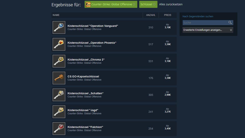 CS:GO - Kistenschlüssel auf dem Steam Marktplatz