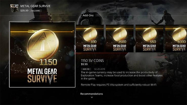 METAL GEAR SURVIVE - Preise für SV Coins