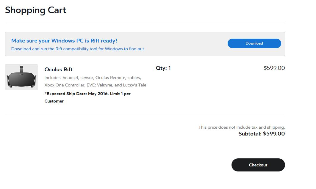 Oculus Rift - Pre Order für 599 US-Dollar