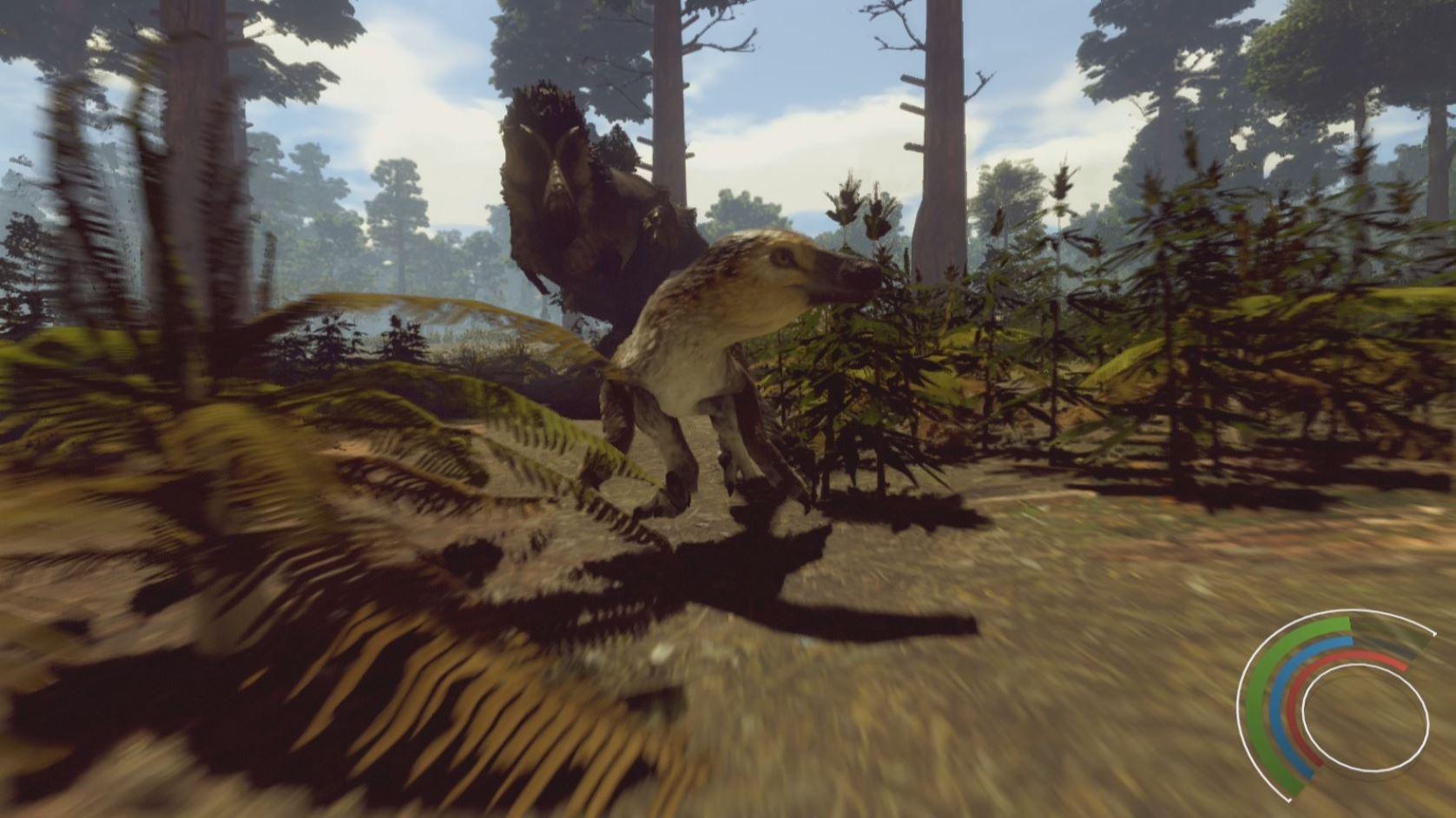 Saurian - Dakotaraptor von Tyrannosaurus verfolgt