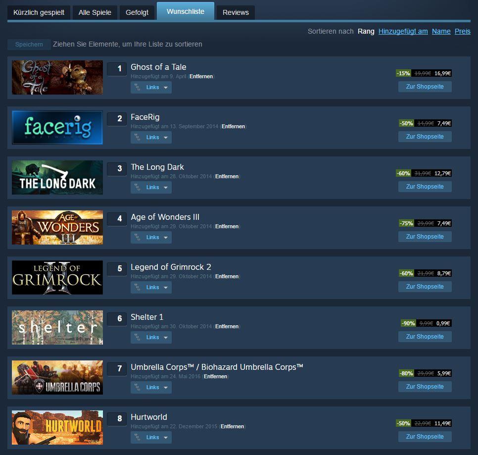 Steam Wunschliste für den Sale
