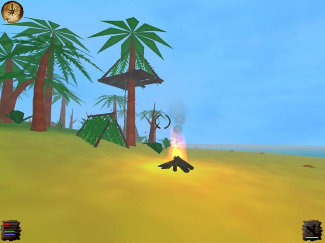Stranded - Baumhaus Zelt und ein Feuer am Strand