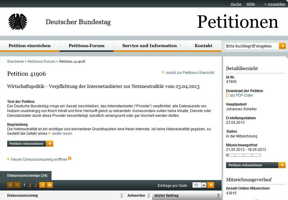 Telekom Netz Drosselung Bundestagspetition