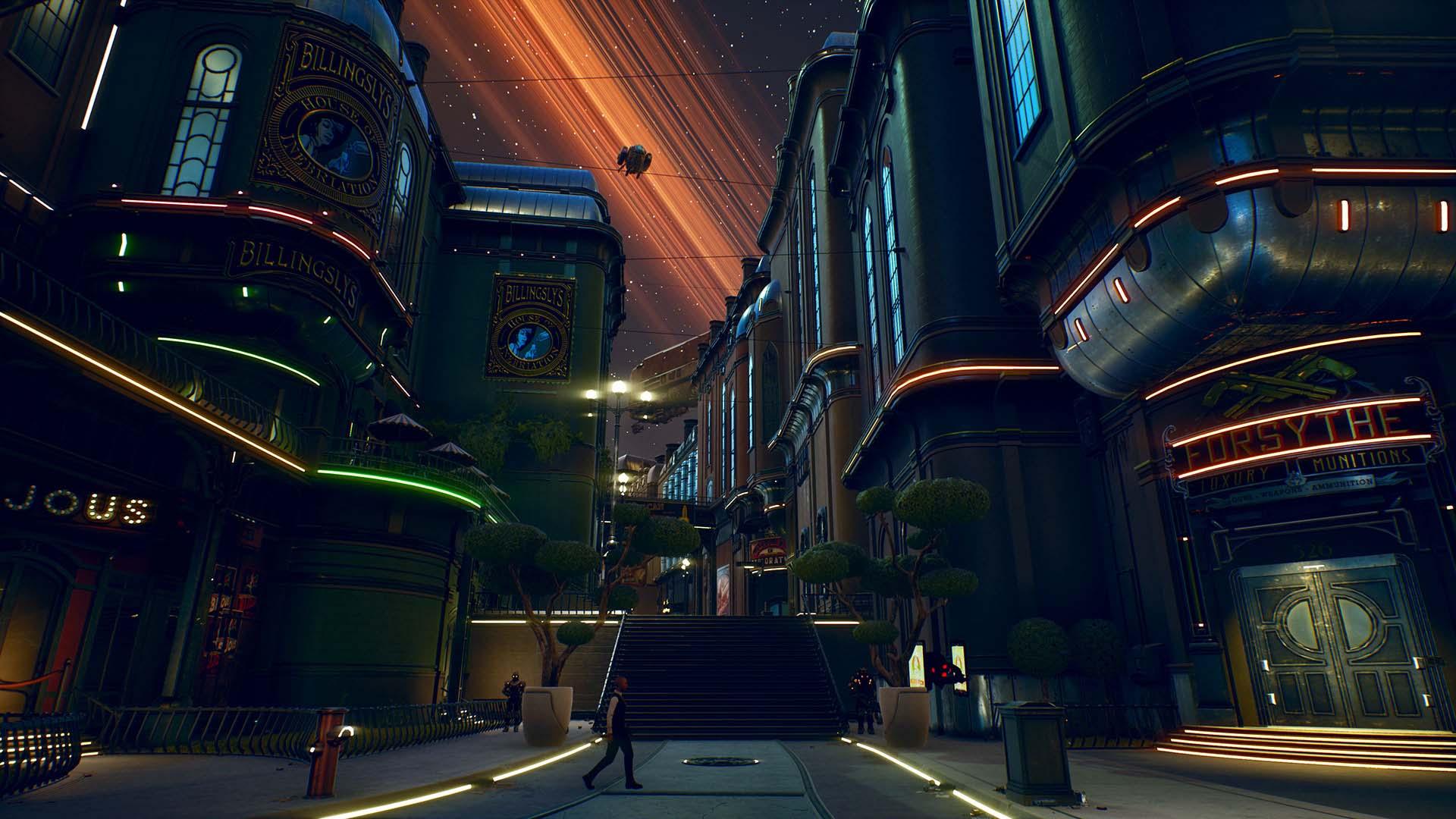 The Outer Worlds - Eine Sci-Fi-Stadt