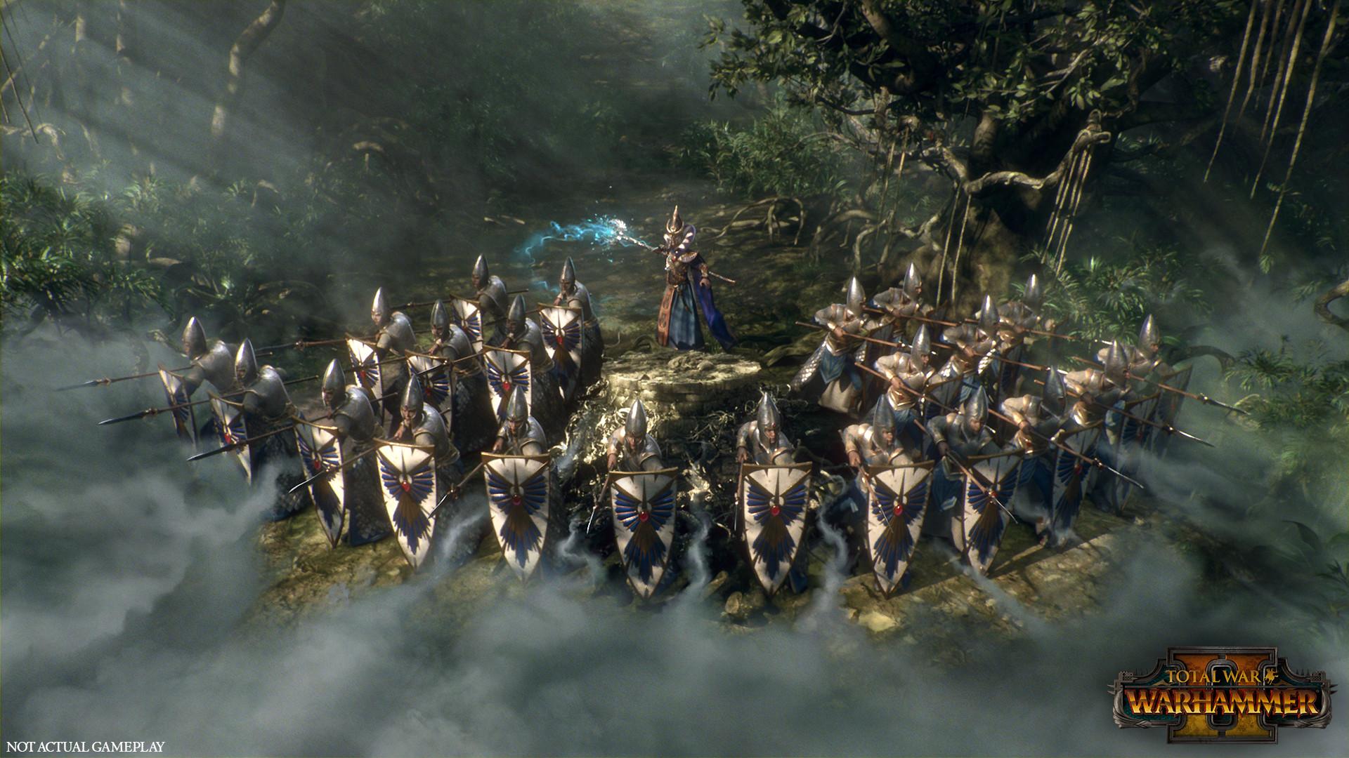 Total War - Warhammer 2 - Hochelfen Trupp in Verteidigungsstellung
