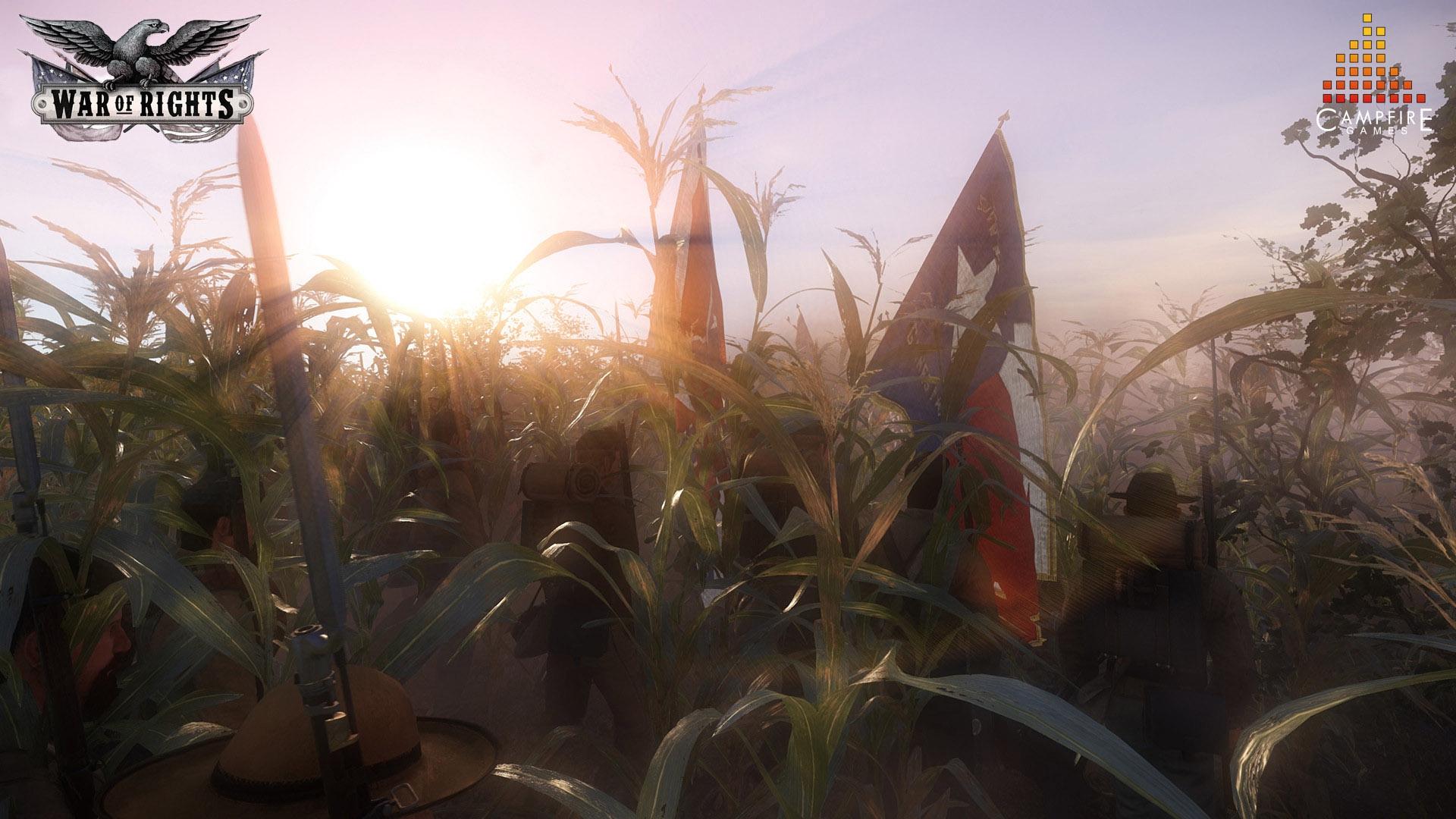 War of Rights - Konföderierte Truppen ziehen durch ein Maisfeld