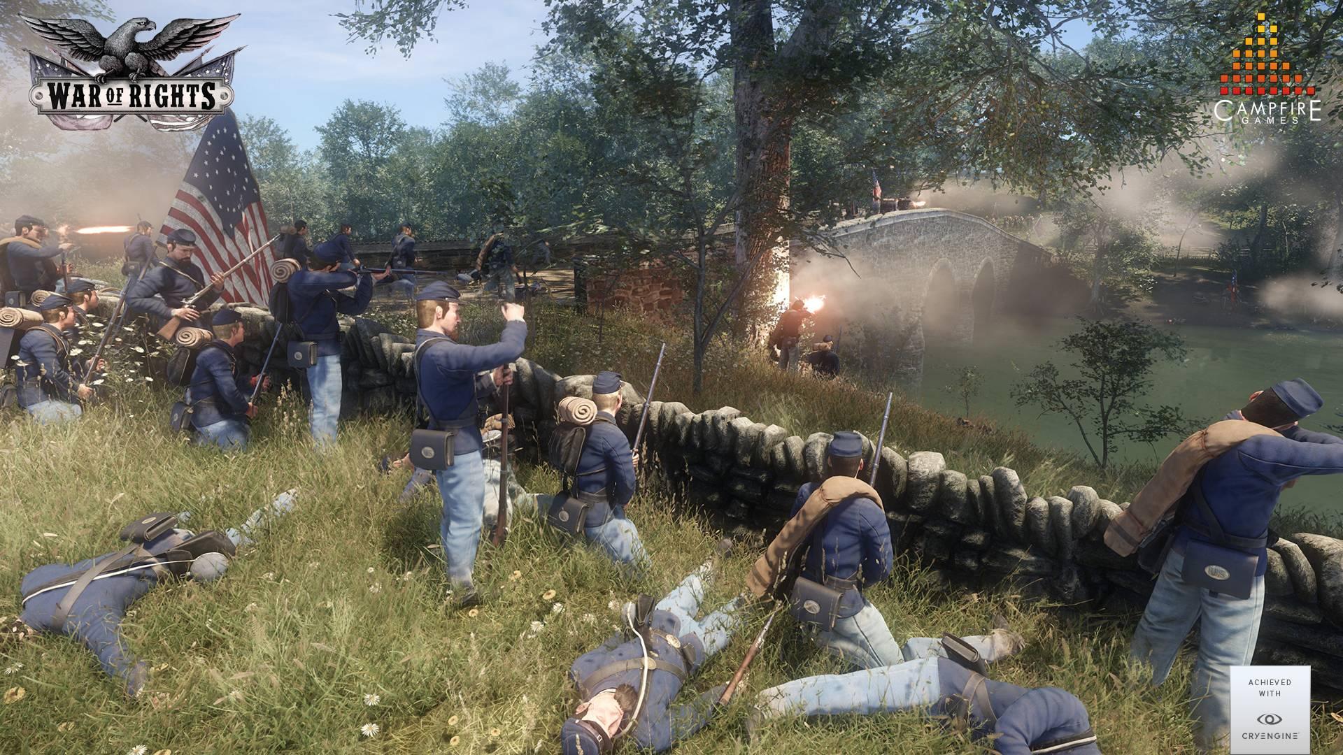 War of Rights - Unionstruppen im Gefecht an einer Brücke