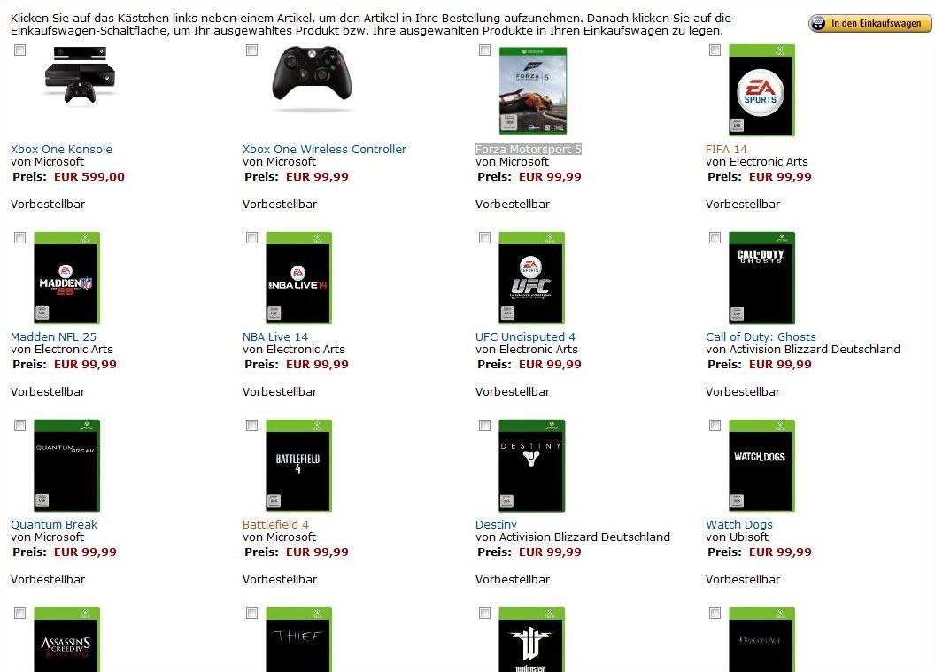 Xbox One auf Amazon