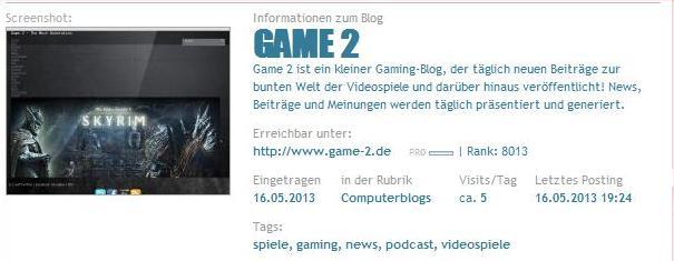 Game 2 Bloggerei