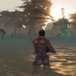 Screenshot des Spiels Entropia Universe. Eine Raumfahrerin durchstreift einen Sumpf. Einige fremdartige Aliens mit langen Beinen stehen im Sumpf.