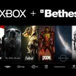 Zu sehen ist ein Marketingbild zur Übernahme von Bethesda durch Microsoft. Zu sehen sind beide Firmen-Logos, darunter Bilder der großen Spiele-Marken von Bethesda und der Entwickler-Studios.