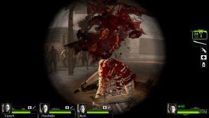 Zu sehen ist eine ungeschnittene Splatter-Szene aus dem Videospiel Left 4 Dead 2.