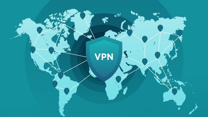 Eine grafische Darstellung der Welt mit miteinander verbundenen Knotenpunkten. Darüber ein großes Schild mit der Aufschrift VPN.